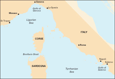 Ligurian and Tyrrhenian Seas